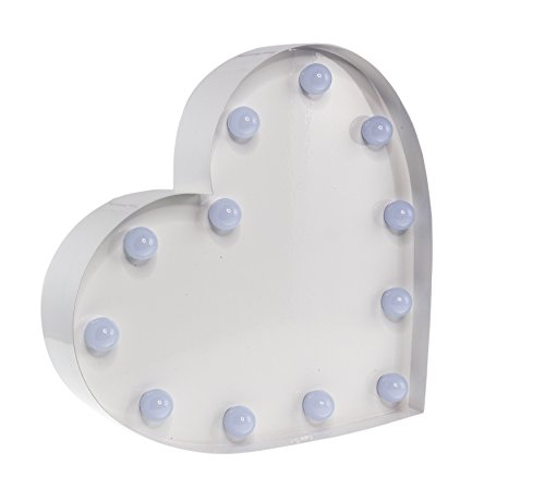'Marquee Lights Cœur Blanc avec éclairage LED en 9 Piles Métal Revêtu Par pulvérisation