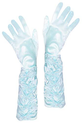 Prinzessin Handschuhe mit Raffung und Perlen - Hellblau -