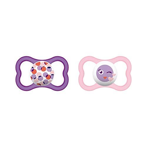 MAM Air Silikon Schnuller im 2er-Set, extra leichtes und luftiges Schilddesign, Baby Schnuller aus speziellem MAM SkinSoft Silikon mit Schnullerbox, 6-16 Monate, rosa