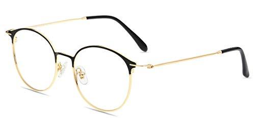 Firmoo Panto Brille ohne Sehstärke, Unisex Computer Brille mit Blaulichtfilter, Blaulicht Brille Anti Augen-/Kopfschmerzen, Blendfrei, Nerdbrille für Damen Herren Schwarz-Gold