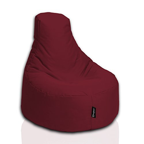 BuBiBag Gamer Kissen Lounge Sitzsack Sessel original Sitzkissen In & Outdoor geeignet fertig befüllt in 31 Farben (weinrot)