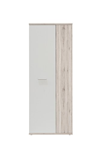 NEWFACE  Mehrzweckschrank, Holz, Sandeiche Dekor + Weiß, 68.90 x 34.79 x 179.1 cm