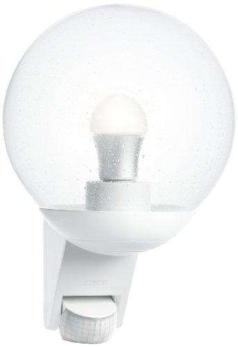 Steinel luminaire extérieur L 585 blanc, détecteur de mouvement 180°, portée max. 12 m, corps vitré soufflé à la bouche