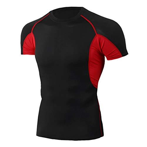 kolila Herren Sports Trainings Tops T Elastisch Atmungsaktiv Workout Fitness Kurzarm Dunkel Schnell trocknende T-Shirts(Rot,XL)