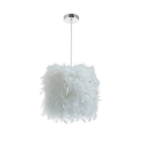 STOEX E27 Lustre Suspension en Plumes Blanche 23cm 40W, Abat-jour Rétractiles Luminaire Plafonnier pour Chambre de l'enfant, Salon, Déco
