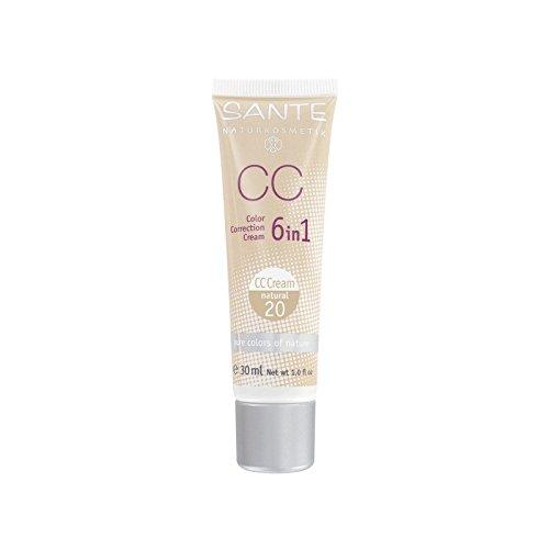 SANTE - CC Cream 6 in 1- Couverture moyenne, Texture légère - Couleur 20 - Vegan, Certifié Bio, Nickel Tested