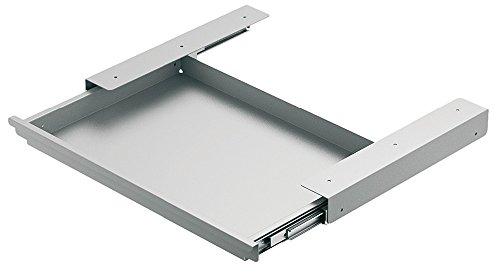 Schubladenschiene Schreibtisch Utensilien-Auszug Vollauszug inkl. Fächerschale | Führungsschiene zum Schrauben unter eine Tischplatte | Metall weißalu RAL 9006 | Möbelbeschläge von GedoTec®
