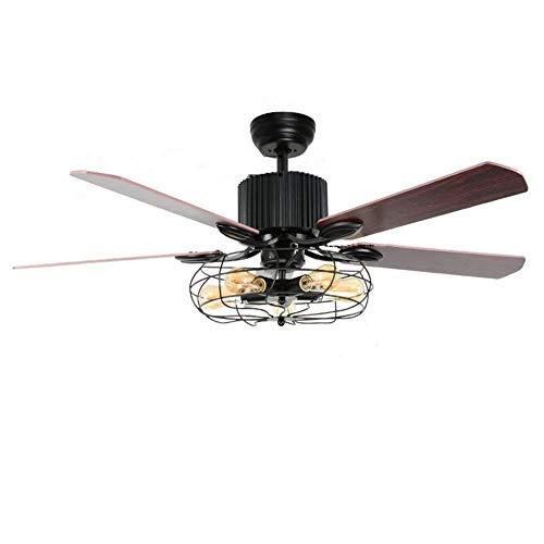 ZY * Luz de ventilador de techo de hoja de madera, Luz...