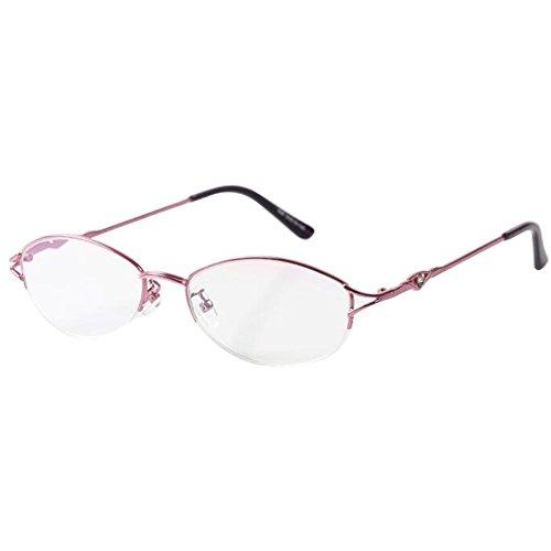 Deylaying Lesebrille Harz Glasur Linse Metall Halber Rahmen Rosa Elegant Damen Retro Brille 1.0 1.5 2.0 2.5 3.0 3.5 4.0