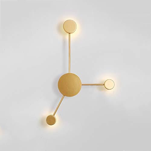 Rishx Kreative nordische Kunst Wandleuchte moderne minimalistische LED Schlafzimmer Nachttischlampe Aluminiumacrylwohnzimmer dekorative Hintergrund Beleuchtungs Befestigungen (Color : Gold-3-heads) - Moderne Dekorative Beleuchtung-befestigung