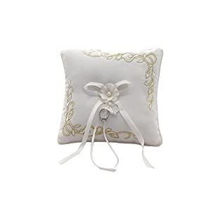HYSENM Ringkissen Ring Pillow Satin mit Schleife Spitze europäisch für Hochzeit Heiratsantrag Hochzeitsdekoration