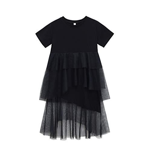Livoral Madchen Geschenke 4 Jahre Teen Kids Baby Mädchen Kurzarm Grenadine Joint Tiered Princess Layered Dress(Schwarz,140)