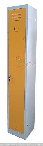 F&T Armoire Vestiaire Metallique Modulable L30 cm x P50 cm x H180 cm (Porte Jaune)