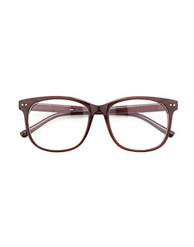 CGID CN81 Damen Herren Styler klassische Nerdbrille Streberbrille Pantobrille 80er Jahre Klarglas Fashion Oversized Nerd Geek Style,Braun