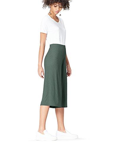 FIND Hose Damen Culotte mit Feinripp und elastischem Bund, Grün (Green), 42 (Herstellergröße: X-Large)