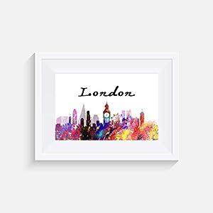 London Inspiriert Stadtbild – Drucken – Poster – Aquarell – Wandkunst- verschiedene Größen(Rahmen Nicht Inbegriffen)