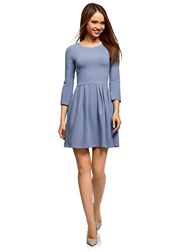 oodji Ultra Damen Tailliertes Jersey-Kleid, Blau, DE 36 / EU 38 / ()