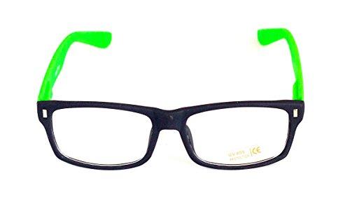 Nerd-BrilleGrün ohne Sehstärke Slim-Brille Slim-Fit 15cm Damen Unisex Panto-Brille Lese-Brille Klar-Glas Nerd-Brille Geek-Brille Green Glow Dark Schmal