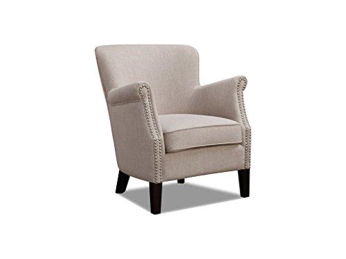 The One Henley Fabric Armchair Beige - Beige Fireside Armchair - Beige Fabric Nailhead Armchair - Living Room Furniture - Bedroom Furniture