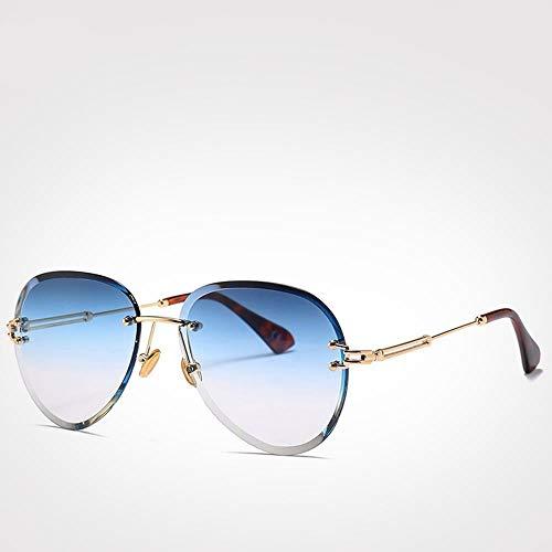 ZHOUYF Sonnenbrille Fahrerbrille Blaue Rote Luftfahrt Sonnenbrille Damen Herren Sonnenschirm Uv400 Sonnenbrille Randlose Brille, A
