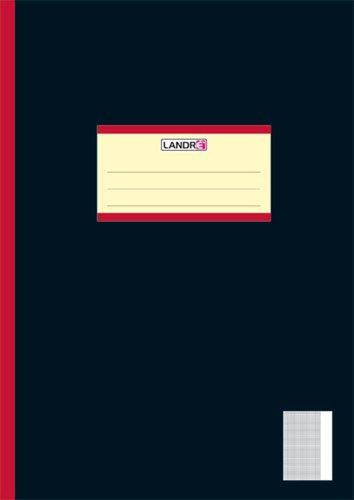 Landre 100050651 Heft Oberschule, A4, 20 Blatt, kariert / Rand 80 g/qm feines, holzfreies Schreibpapier, Edelpapier 25-er Pack, schwarz
