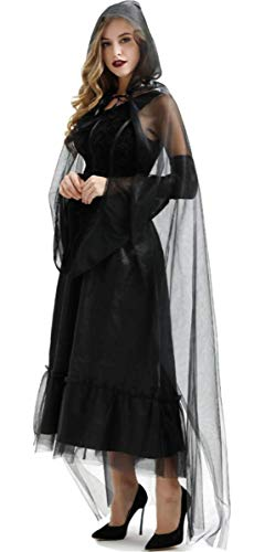 LCXYYY Erwachsener Damen Schwarze Witwe Kostüm Schwarze Geisterbraut Weiblicher Halloween Kostüm Abendkleid Sexy Vampir Grässlich Teufel Karneval Verkleidung Kleid+Ärmel+Umhang mit Kapuze (Schwarze Witwe Kostüm Sexy)