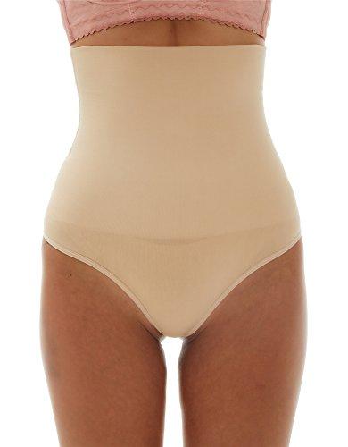 Franato Damen Shapewear Figurformende Miederslip mit Bauch-Weg-Effekt Miederhose Beige S - Komfort Nahtlose Shaper Brief