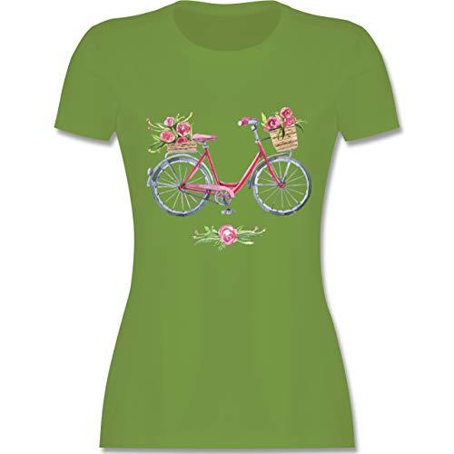 Vintage - Vintage Fahrrad Wasserfarbe Blumen - S - Hellgrün - L191 - Tailliertes Tshirt für Damen und Frauen T-Shirt -