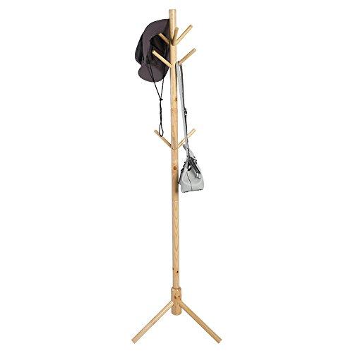 Greensen Perchero de madera maciza para sombreros, sombreros, sombreros, sombreros, bolsos, perchas con 9 ganchos para el pasillo, garaje, oficina, armario 176 cm