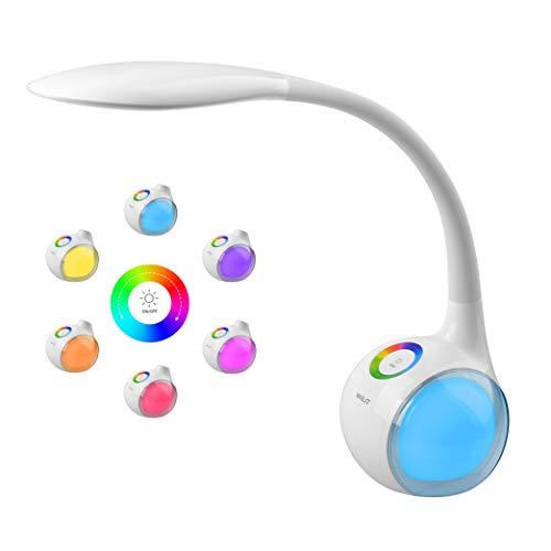 WILIT T3 Lámpara de Escritorio Táctil, Flexo LED Regulable, Lámpara de Mesa Ajustable, 256 RGB Luz de Color, 3 Niveles...