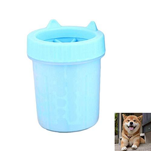 Cacoffay Tragbare Haustierreinigungsbürstenschale Hundekatze-Fußwascher-weiche Silikonbürsten 360 Reinigung abnehmbar Fußmassage Zubehör,Blue