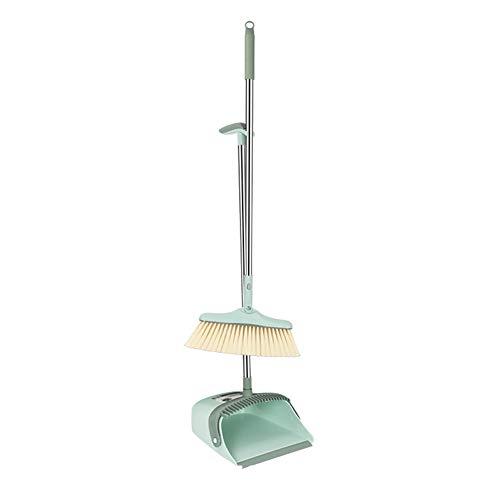 MEISHENG Staub Pan Broom & Floor Squee/abnehmbare verstellbare Lange Griff/Reiniger Set Profi für PET Hair Kehr Küche Haus grün