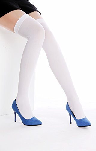 DRESS ME UP WZ-003W Halterlose Strümpfe Damenstrümpfe Overknees Stockings Karneval Sexy Weiß