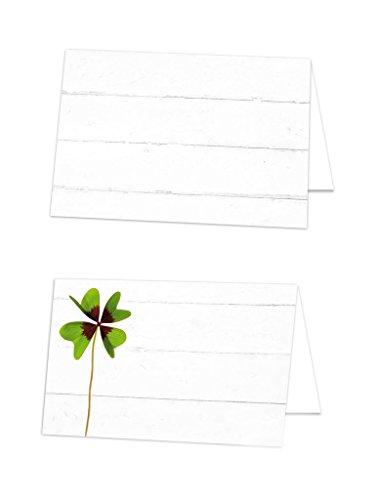25 Stück kleine grün weiß KLEEBLATT Glücksklee Blanko Tischkarten Namens-Schilder Tisch-Aufsteller Namens-Kärtchen Sitzkarten Platzkarten Preisschilder - mit JEDEM Stift beschreibbar!