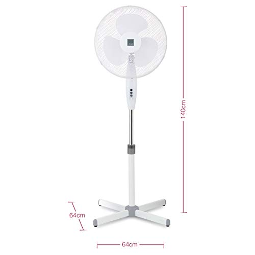 "31vclPZGFVL. SS500  - Knight 16"" Fan Pedestal Stand High Performance 140cm Adjustable Height, 3 Speed Setting, Extra Wide Cross Base, Oscillating, Tilting Head (White)"