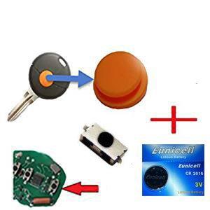 Für Smart 450 Funkschlüssel Schlüssel 1x Tastenfeld Gummi + 1x Mikroschalter SMD Taster 1x Batterie