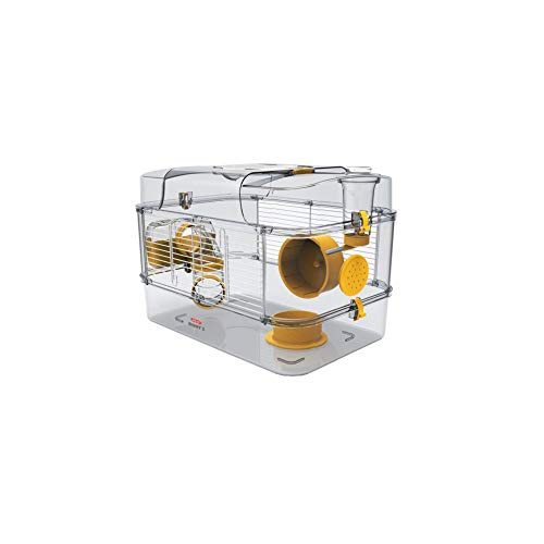 Gabbia Habitat per Criceto MOD. RODY 3 Solo Colore Banana Completa di Accessori Mis. 41x27x28h con Tubi e Giochi