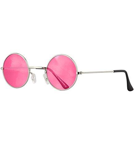 Caripe runde Sonnenbrille Lennon Brille - silber - pink-rot (Ozzy Brille Osbourne)