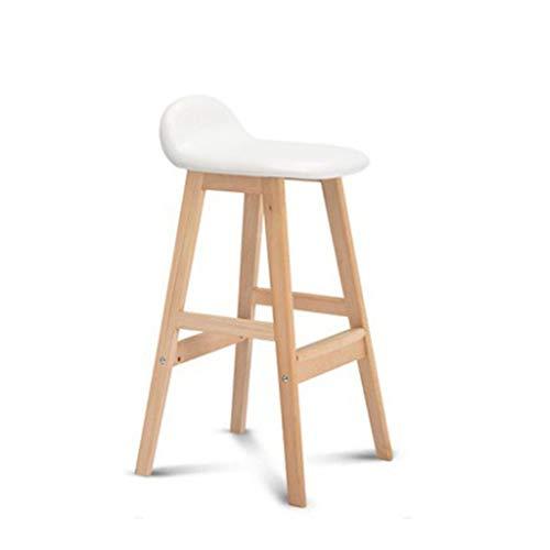 Peggy Gu Frühstücks-Arbeitsstühle Barhocker Holz Barhocker Hohe Hocker Weißes Leder Sitz Retro Finish Industriestil (Farbe : Weiß, Größe : 83 * 42 * 40cm) - Chrom-holz-finish Bar Hocker