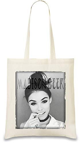 Madison Beer Grunge Porträt Grunge Portrait Custom Printed Tote Bag| 100% Soft Cotton| Natural Color & Eco-Friendly| Unique, Re-Usable & Stylish Handbag For Every Day Use| Custom - Madison Tote