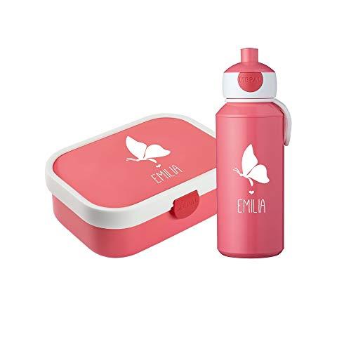 rotdose & Trinkflasche Silhouette + Name✶ versch. Motive & Farben ✶Mepal Campus + Bento Box & Gabel ✶Schule ✶Kind (Schmetterling, Pink) ()