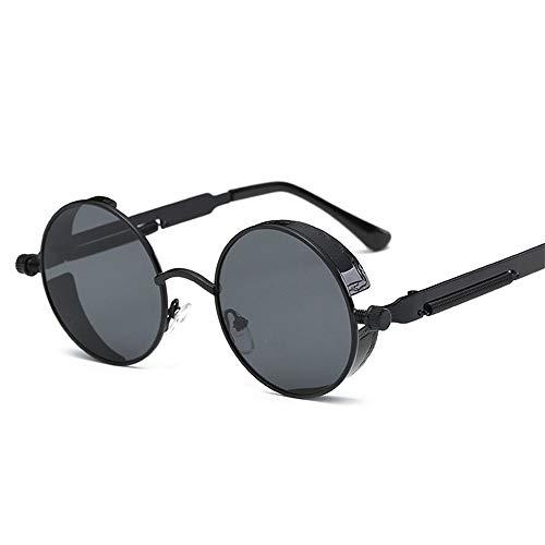XIAOYUTOU Coole Retro Gothic Steampunk Brille Damen Herren Sonnenbrille Beschichtung Verspiegelte Sonnenbrille Round Circle (Lenses Color : A)