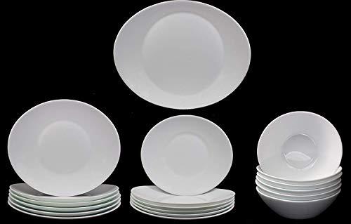 Service de Table pour le Petit Déjeuner Prometeo de Forme Ovale pour 6 Personnes, Blanc Brillant, avec 1x Plat de Service, 6x Grande Assiettes, 6x Assiettes à Dessert et 6x Bols à Céréales (19 Pièces)