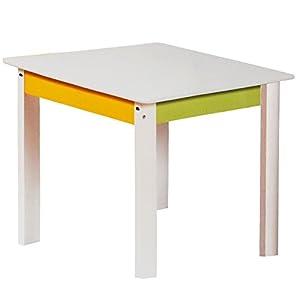 alles-meine.de GmbH 1 Tisch für Kinder – aus sehr stabilen Holz – incl. Name – weiß / grün / gelb – Kindertisch…