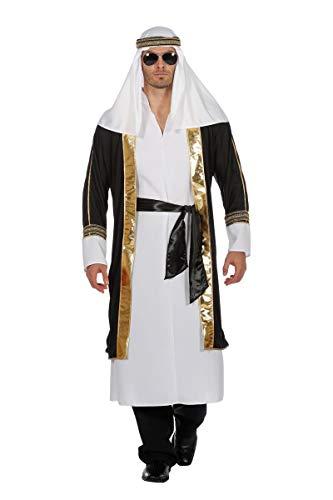 Wilbers Scheichkostüm Kostüm Scheich Araber Naher Osten 1001 Nacht Herrenkostüm Karneval Weiß/Schwarz (Arabische Nacht Kostüm Für Erwachsene)