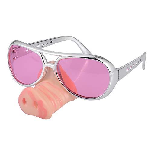 YeahiBaby Schweinchen Nase Sonnenbrille Verkleidung Schweinchen Schnauze Party Brille Lustige Brille Kostüm Zubehör (Rosa)