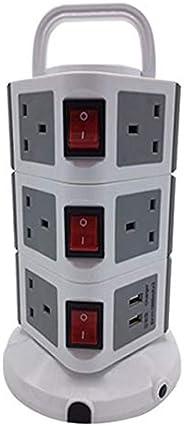 توصيلة كهربائية عامودية ثلاث طوابق، 11 مقابس مع 5 مدخل يو اس بي لشحن الجالكسي والأيفون ، اللون رصاصي