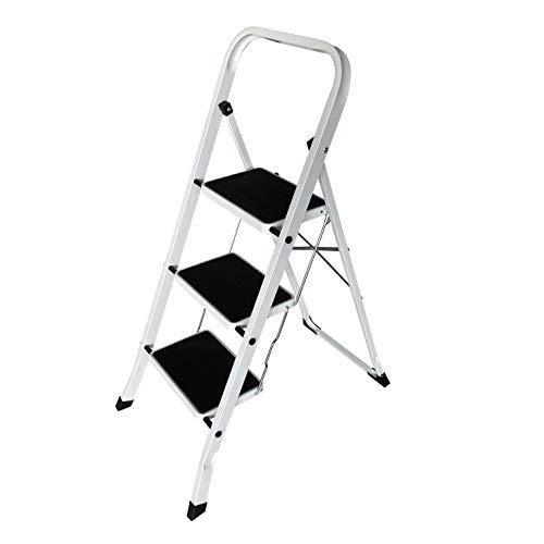 Trittleiter 3 Stufen, Klapptritt, Leiter mit Sicherheitsbügel - Klappbar, einfach zu verstauen - Belastbar bis 150 kg