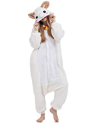 Schaf Kostüm - Jumpsuit Onesie Tier Karton Kigurumi Fasching Halloween Kostüm Lounge Sleepsuit Cosplay Overall Pyjama Schlafanzug Erwachsene Unisex Schaf for Höhe 140-187CM