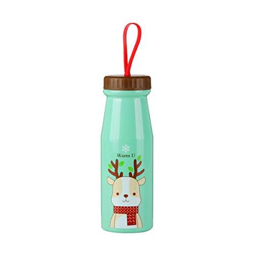 UPSTYLE Thermos taza de viaje Cute Cartoon Animal patrón aislado al vacío termo de acero inoxidable botella de agua Thermos termo al vacío taza de café para los niños Tamaño 11.1oz (330ml), acero inoxidable, Verde, 11.1 oz